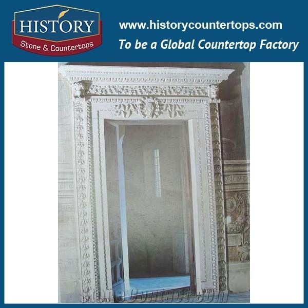 Pure White Marble Natural Stone Designs Indoor Decoration Hand Carving Door Frame Door Surrounds for House Villa Entry