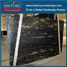 Reasonable Cost Brazil Titanium Granite Slabs/ Black and Golden Granite Slabs/Black Cosmics Granite/Titanium Slabs for Countertops