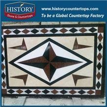White Jade, Cream Marfil Marble Ocean Red Granite Water Jet Cut Best Stone Mosaic Tiles, Rectangular Shuriken Restaurant Floor Covering Medallions