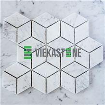 Bianco Carrara White Marble Mosaic Tile Cube Rhombus Pattern 12''X12 Vieka Stone for Kitchen, Washroom, Bathroom, Backsplash Wall and Floor Covering