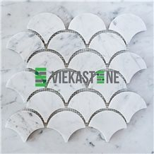 Bianco Carrara White Marble Mosaic Tile Fan Pattern 12''X12 Vieka Stone for Kitchen, Washroom, Bathroom, Backsplash Wall and Floor Covering