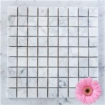 Bianco Carrara White Marble Mosaic Tile Polished Square 30mm 12