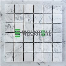 Bianco Carrara White Marble Mosaic Tile Polished Square 30mm Vieka Stone for Kitchen, Washroom, Bathroom, Backsplash Wall and Floor Covering
