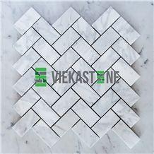 Bianco Carrara White Marble Mosaictile Herringbone Pattern Chips 1x3