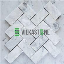 Bianco Carrara White Marble Mosaictile Herringbone Pattern Chips 1x4