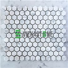 Bianco Carrara White Marble Mosaictile Hexagon Pattern Chips Chips 1''Sheet 12''X12 for Interiro Kitchen, Bathroom, Backsplash Wall Floor Covering