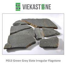 China Irregular Random Flagstone Green Grey P013 Slate Pavers Nature Stone Split Face Tile for Landscaping Patios Garden Courtyard Decor
