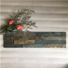 China Jiangxi Rusty Slate 4 Strips Multicolor Stacked Culture Stone,Wall Cladding Panel, Ledgestone Split Face Mosaic Tile Decor 60x15cm