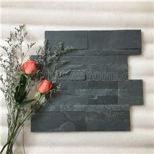 China Manufacturer Black Slate Charcoal Natural Culture Stone Stacked Ledger Tile Wall Cladding Panel 35x18cm Split Face Mosaic Rock Landscaping