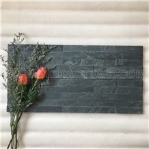 China Manufacturer Black Slate Charcoal Natural Culture Stone Stacked Ledger Tile Wall Cladding Panel Split Face Mosaic Rock 60x15cm Rectangle Veneer