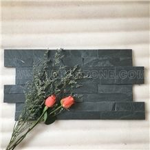 China Manufacturer Black Slate Charcoal Natural Culture Stone Stacked Ledger Tile Wall Cladding Panel Split Face Mosaic Rock 60x15cm Z-Shape Veneer