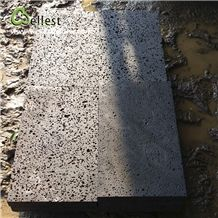 Natural Basalt/Volcanic/Lava Stone Tile Cut to Size Basalt Tile Rough Floor Paving Tile with Holes