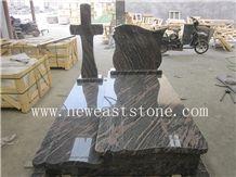 China Aurora Polished Western Style Granite Cross Headstone Tombstone Monuments