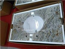 Golden Granite Used Polished Bathroom Sink Vanity Tops Cabinet Wholesale