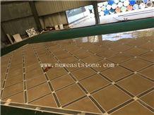 Newstar Dark Beige Waterjet Marble Tiles Design Floor Pattern