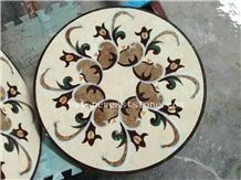 Round Square Shape Marble Water Jet Tile Floor Mosaic Medallions for Villa Project