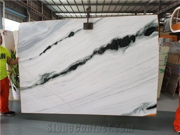 China Panda White Marble Tile Slab