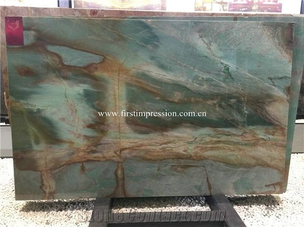 Por Botanic Green Slabs Quartzite From Brazil For Countertops Wall Tiles Flooring Luxury
