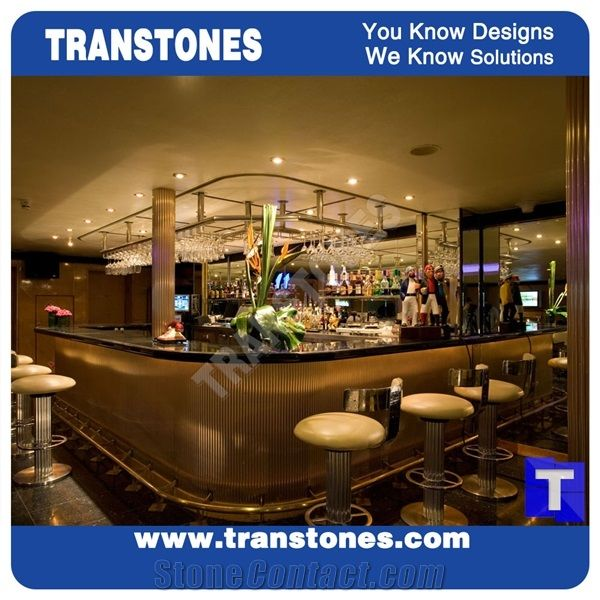 Solid Surface Artificial Black Marble Long Bench Countertops,Commercial Bar  Top Reception Desk Led Translucent