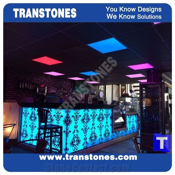 Translucent Lighting Led Acrylic White Artficial Marble Bar