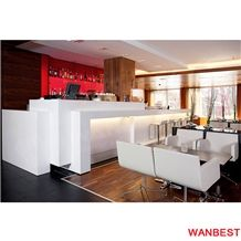 Commercial White Solid Surface Lighting Breakfast Bar Countertop Cafe Shop Counter