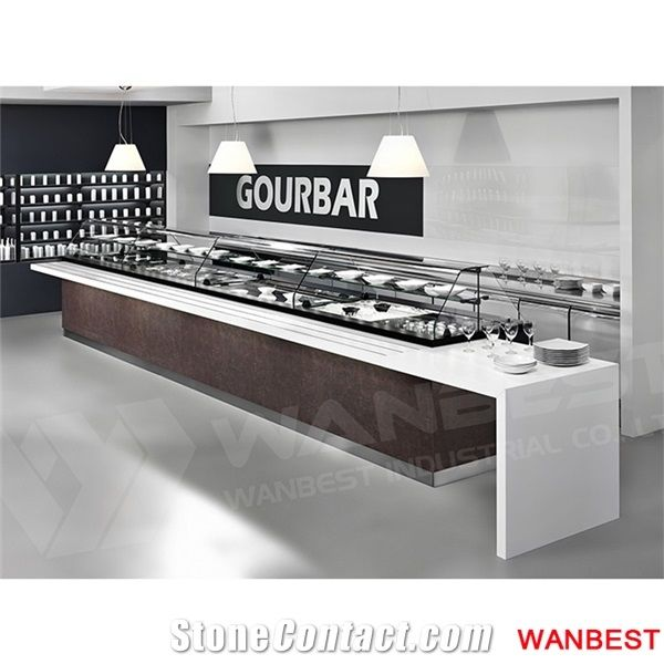 Modern Wooded And Artificial Stone Hotel Food Buffet Bar