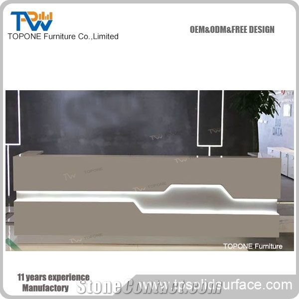 China Office Furniture Supplier Led Lighted White Reception Desk Top  Design, Interior Stone Acrylic Solid Surface Led Reception Counter Tops  Design