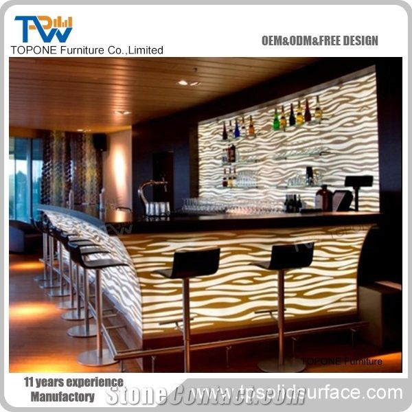 Oem Service Offered Artificial Marble Stone Curved Restaurant Bar ...