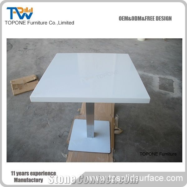 White Acrylic Solid Surface Square Table Tops Design Interior Stone - White marble restaurant table tops