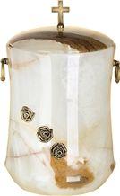 Classy Cremation Urn, Creamy White Onyx Urn