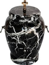 Colossal Cremation Urn with Black Zebra Marble