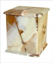 Prominent Cremation Urn, Creamy White Onyx Urn