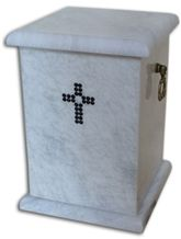 Prominent Cremation Urn, White Marble Urn