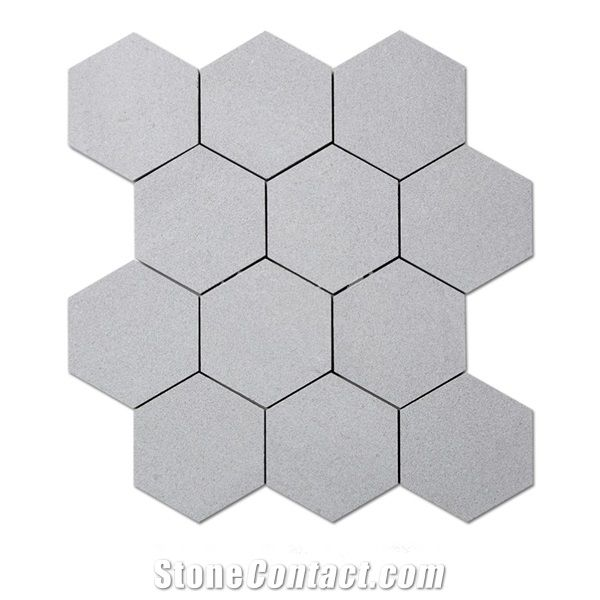 Cinderella Grey Marble Sandblasted 4 Inch Hexagon Mosaic Wall Tile Sheets