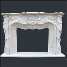 Beauty Oriental White Marble Fireplace Mantel, Western Style Handcarved Sculptured Modern Fireplace Mantel, Stone Fireplace Hearth Gofar