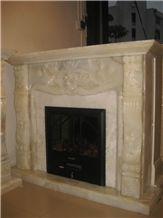 Beige Onyx Fireplace Mantel, Western Style Handcarved Sculptured Modern Fireplace Mantel, Stone Fireplace Hearth Gofar