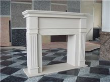 Oriental White Marble Fireplace Mantel, Western Style Handcarved Sculptured Modern Fireplace Mantel, Stone Fireplace Hearth Gofar