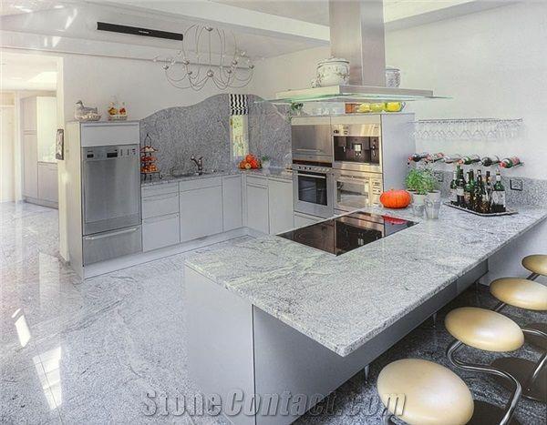 Polished Viscont White Granite For Kitchen Bar Top Kitchen