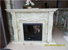 Pure White Onyx Fireplace Mantel, Western Style Handcarved Sculptured Modern Fireplace Mantel, Stone Fireplace Hearth Gofar