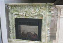 Verde Green Onyx Fireplace Mantel, Western Style Handcarved Sculptured Modern Fireplace Mantel, Stone Fireplace Hearth Gofar