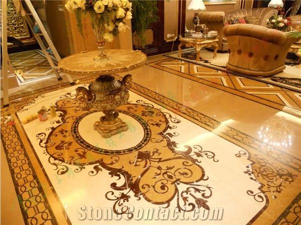China Yellow Natural Stone Marble Square Waterjet