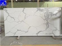 Artficial Statuario Quartz Stone Surface Slab,Cut to Size Tiles,Engineered Stone Walling