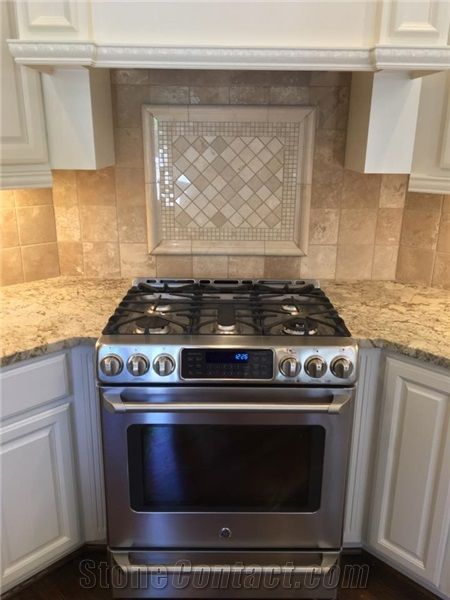 Granite Countertop Beautiful Travertine Backsplash With Decorative Mural Over Cooktop From United States Stonecontact Com