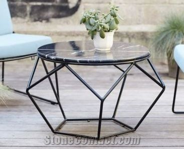 Modern Marble And Wrought Iron Dinner Table Restaurant Table
