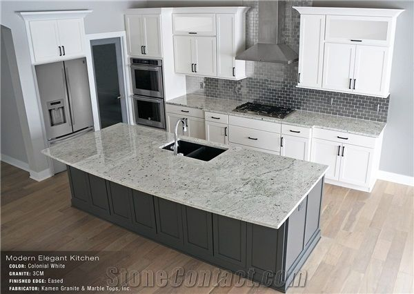 Colonial White Granite Eased Edge 3cm Kitchen Island Top