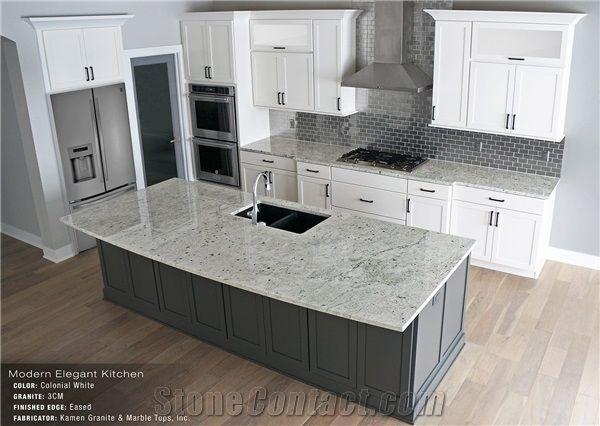 Colonial White Granite Eased Edge 3cm Kitchen Island Top, Perimeter  Countertop