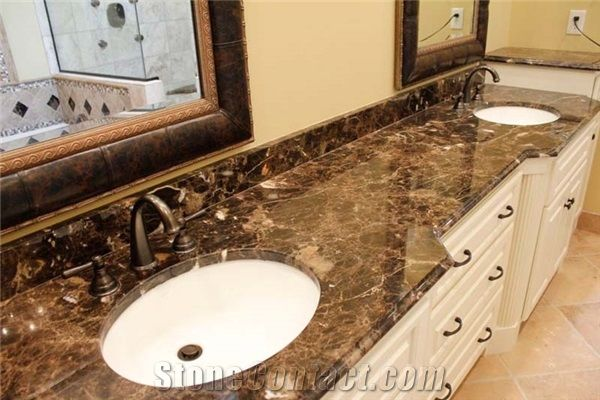 Dark Emperador Marble Bathroom Vanity Top