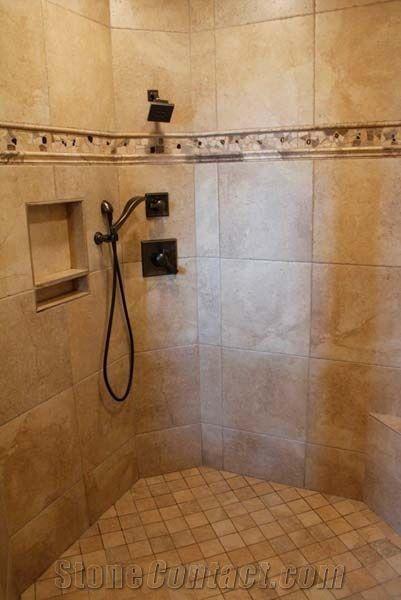 Tumbled Travertine Bathroom Shower Wall