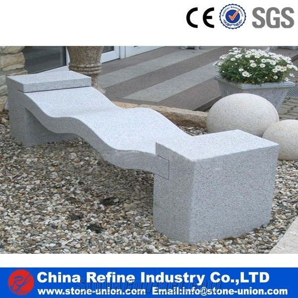Chinese Polished Grey Granite Bench Outdoor Furniture Stone
