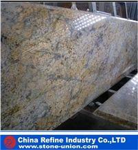 Diamond Like Flowers Granite, China Yellow Granite for Custom Kitchen Countertops, Giallo Diamond Flower Granite Slab,Golden Diamond Flower Granite